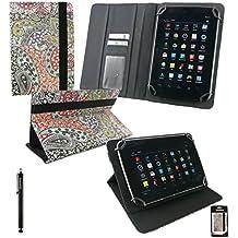 Emartbuy® Negro Lápiz Óptico + Universal Serie Abstracto Cuero PU Ángulo Múltiples Executive Folio Funda Carcasa Wallet Case Cover apto para BQ Elcano 2 Quad Core 7 Inch Tablet
