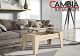 CAMBIA TUS MUEBLES - Mesa de Centro elevable para Comedor, salón ALINSA, Color Roble, Mesa Auxiliar