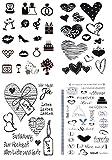 be fancy! Silikonstempel Set - Hochzeit Heirat - Clear Stamps - Stempel - 70-teilig - transparent
