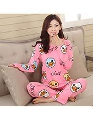 &zhou pijamas mujer ocio mantenga cálido pijama ropa hogar conjuntos , pink , xl