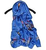 Sumolux Sciarpa in Cotone Ricamo Fiori Stole Scialle Serico Quadrato Nuovo Stile per Donna