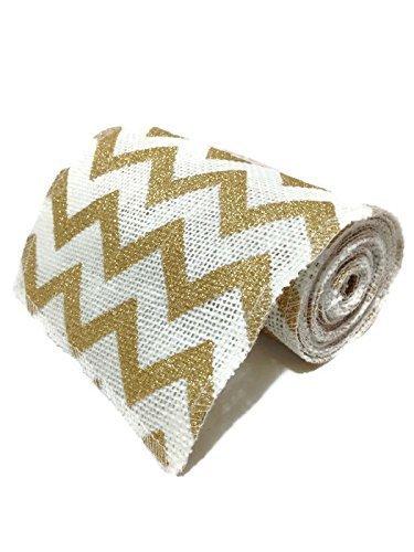 55-inches-wide-10-feet-long-gold-glitter-chevron-design-on-white-burlap-craft-ribbon-roll-by-walmart