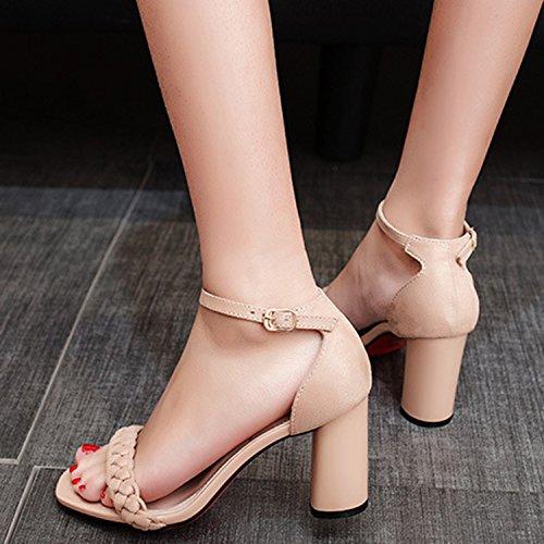 Oasap Women's Fashion Open Toe Ankle Strap Chunky Heels Sandals Black