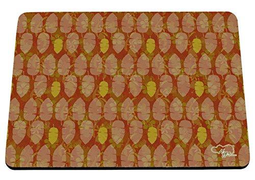 hippowarehouse Tropical Leaf Muster bedruckt Mauspad Zubehör Schwarz Gummi Boden 240mm x 190mm x 60mm, Orange, Einheitsgröße Bush Stift