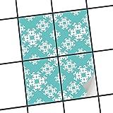 creatisto Fliesen Folie Sticker Aufkleber selbstklebend | Fliesenmosaik Dekoaufkleber Badezimmer renovieren Küche Fototapete selbstklebend | 15x20 cm Design Motiv Endless Flake - 4 Stück