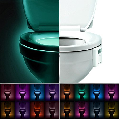 SkyGenius Toilet Bowl Night Light,Bathroom Battery Operated(INCLUDED) LED Light Activated by Motion Sensor and Darkness,Gift for Potty Training Kid Children Midnight Visitors,Water Proof Easy Install(16 Colors)