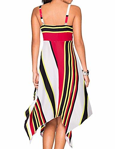 EMMA Damen Sexy V-Ausschnitt Asymmetrischer Saum ärmellos loose casual bedruckt Tunika T-Shirt Sommer Strand Kleider Mehrfarbig2-Gelb