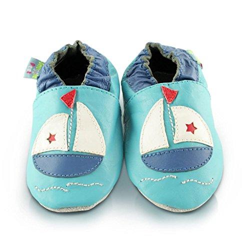 Snuggle Feet - Chaussons Bébé en Cuir Doux - 0-6 Mois, 6-12 Mois, 12-18 Mois, 18-24 Mois, 2-3 Ans (18-24 mois, Bateau)