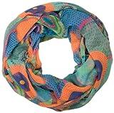 styleBREAKER Ethno Design Loop Schlauchschal mit bunten Kreisen und Punkten 01016012 (Blau-Orange)