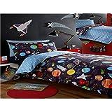 Kidz Club 2Planetas de cama doble de funda de edredón y de almohada juego de cama Ropa de cama para niño de sol Mars y luna, negro