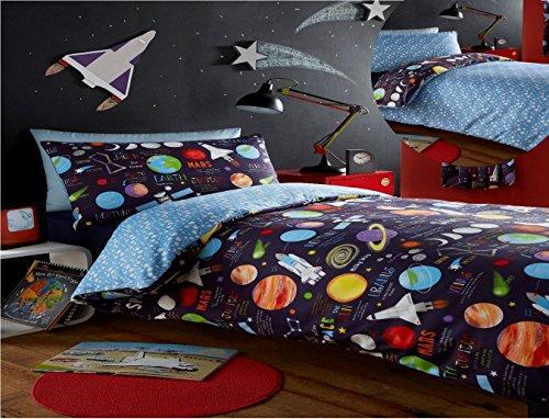 Kidz Club - Juego de Funda de edredón Doble y 2Fundas de Almohada para niños, diseño de Planetas, Color Negro