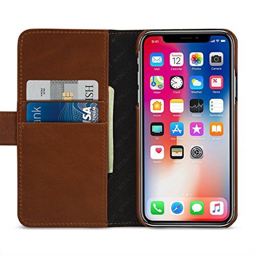 StilGut Talis Schutz-Hülle für Apple iPhone X mit Kreditkarten-Fächern aus echtem Leder. Seitlich aufklappbares Flip Case in Handarbeit gefertigt für das Apple iPhone X, Cognac Cognac