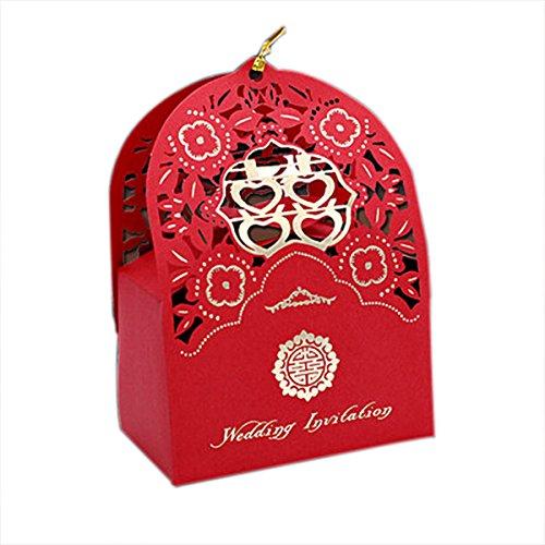 Glück schnitt Paar rote Hochzeit Partei Süßigkeiten-Box Geschenk Braut Dusche Baby-Box zu (Bonbons oder Pralinen nicht enthalten) ()