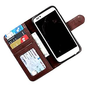 i-KitPit PU Leather Wallet Flip Case Cover For Sony Xperia M / Xperia M Dual (Brown)