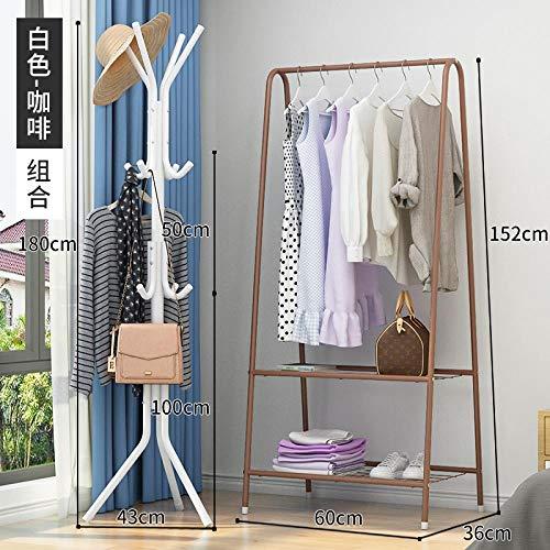 Einfache Wäscheständer auf dem Boden Falten Innen Schlafzimmer Kleiderständer einpoligen platzsparenden Schlafsaal hängenden Kleiderständer, One, doppelstöckige Kaffee [Eisengitter] + Concise weiß