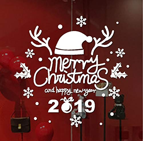 kdjshhs Wandaufkleber Weihnachten Wandaufkleber 2019 Neujahr Frohe Weihnachten Wandaufkleber Home Schaufenster Decals Dekor Aufkleber (Halloween-2019 Die Letzten)