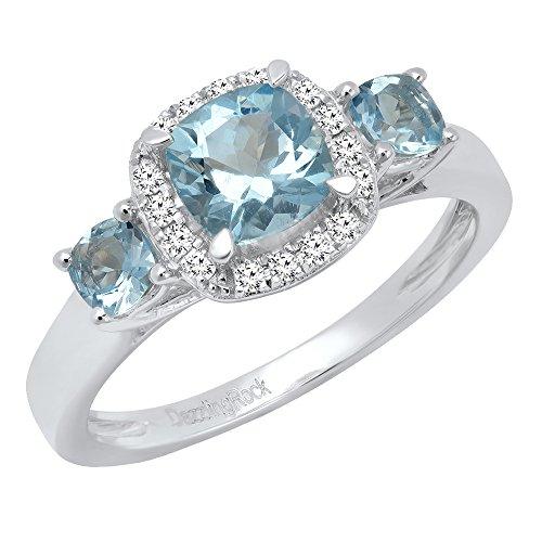 14K Weiß Gold Kissen Aquamarin & Diamant Rund Brautschmuck 3Stein Engagement Ring (Größe - 9 Diamant-ring-größe