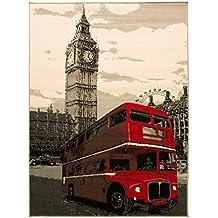 """Retro Vintage Londres rojo Bus alfombra con Big Ben–Ideal para adolescentes dormitorio Parent Parent, polipropileno, gris y rojo, 120x160cm (4'0""""x5'3"""")"""