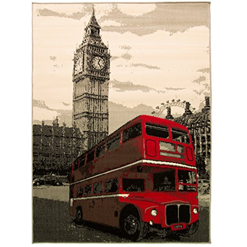 Just Contempo London rot Bus Teppich, beige, 160 x 225 cm (Bus 225)