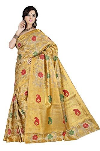 Mimosa Women's Tassar Silk Saree (118-Tuss-Offwhite,Off White,Free Size)