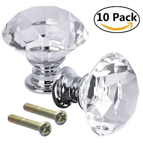 owikar 10PCS Kristall klar 30mm Diamant Form Türknöpfe Glas Schrank Schublade Kleiderschrank Schrank Knöpfe Pull Griff für Küche, Badezimmer (30 Heel Mm)