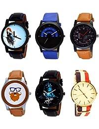 NIKOLA Treading 3D Design Mahadev Beard Style Black Blue And Brown Color 6 Watch Combo (B22-B47-B29-B55-B23-B50...
