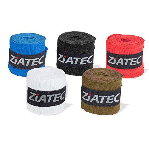 Ziatec (2er Set) Profi Box-Bandagen 3 Meter, Hand Wraps, Boxbandage, Handgelenkbandage, Handbandagen, Wickelbandage mit Daumenschlaufe und Klettverschluss, Größe:Universalgröße;Farbe:schwarz