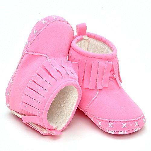 Bébé fille chaussons fait main Drapé Effet - Rouge - rouge, 6-12 mois Rose - rose