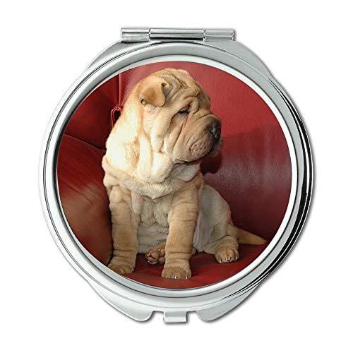 Yanteng Spiegel, Schminkspiegel, Montage Dog Puppy Sharpei Couch, Taschenspiegel, tragbarer Spiegel
