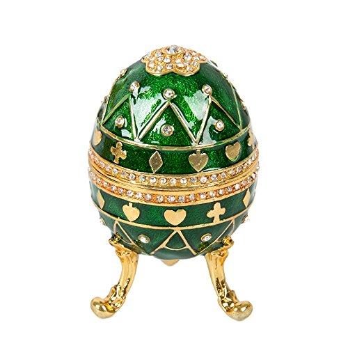 QIFU hand Painted Œuf Fabergé Style décoratif à charnière Bijoux Boîte à bijoux Cadeau unique...