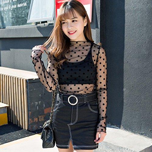 Vertvie damen Langarm Schwarz Spitzenbluse Shirt Durchsichtig Transparen reizvolles Tüll Mesh Netz T-shirt Tunika Tops Clubwear in verschieden Modell Polka Dot