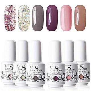 Y&S Soak Off Gel Nail Polish Sets 6 Colours Glitter UV LED Gel Polish Set Washable Manicure Varnish Kit #002, 8ml
