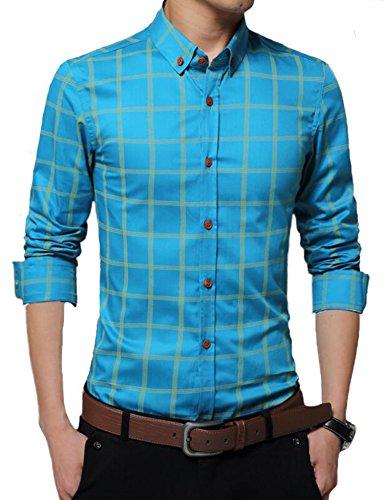DD UP Herren Baumwolle Slim Business Plaid Gestreift Okoberfest Kariert Langarm Hemden Shirts Blau