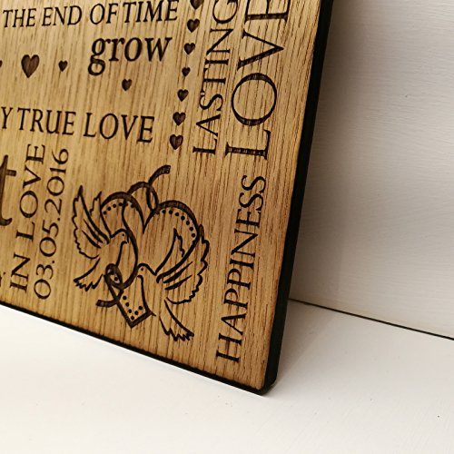 LoveThis** Wedding Anniversary Gift Personalised Wooden Oak Plaque Sign - Silver Gold Diamond Ruby