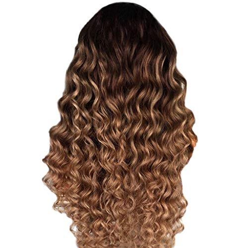 Waselia - Braun Langes Lockige Perücken Echthaar Human Hair Wigs Curly Wave Brazilian Virgin Hair Lace Front Wigs Pre Plucked Hairline Remy Hair Glueless Natural ()
