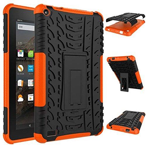 samLIKE Gummi stoßsicherer hybrider Fall Standplatz Halter für Kindle Feuer HD7 2015 (Orange) (Fire 2015 Fall Kindle Hd7)