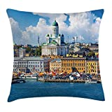 WYICPLO European Throw Pillow Cushion Cover, Scenic Summer of The Market Square Old Town Helsinki Finnish Northern Skyline, Decorative Square Accent Pillow Case, 18 X 18 inches, Multicolor