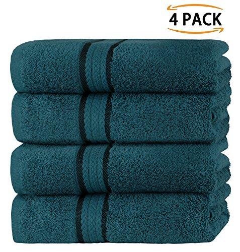 Sweetneedle asciugamani super soft da 4 pezzi 50x90 teal, 580 gsm - 100% puro cotone ringspun - lussuoso rivestimento in rayon - ideale per l'uso quotidiano - facile da lavare in lavatrice