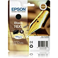 Epson 16XL Series Original High Capacity Black Ink Cartridge (Pen & Crossword) for Epson WorkForce Printers WF 2010W, WF 2510WF, WF 2520NF, WF 2530WF, WF 2540WF.