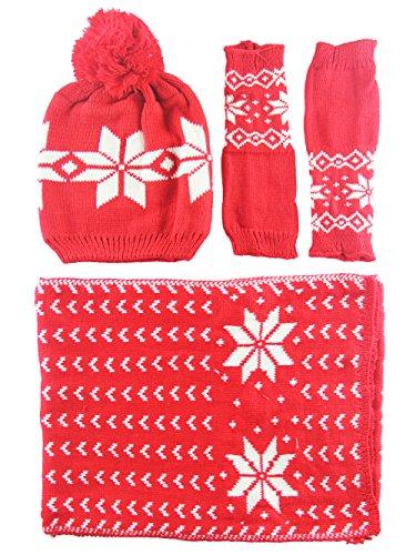 Kissing U Femmes Chenille Snowflake Gants Imprimer Chapeau et écharpe d'hiver Rouge
