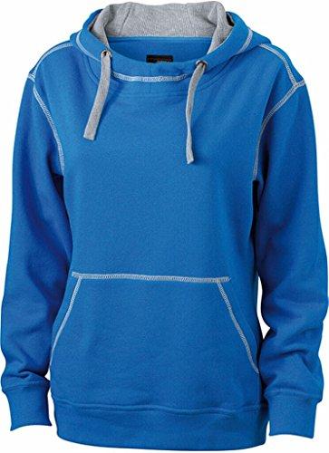 JAMES & NICHOLSON Sweatshirt a capuche contrasté cobalt/gris chiné