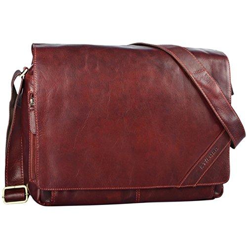STILORD 'Nick' Umhängetasche Leder Herren Damen Unitasche 15.6 Zoll Laptoptasche Aktentasche Bürotasche Vintage Büffel-Leder, Farbe:cognac - glänzend rosso