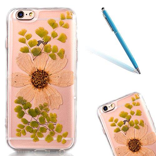 """iPhone 6sPlus Schutzhülle, iPhone 6Plus Soft TPU Handytasche, CLTPY Modisch Durchsichtige Rückschale im Getrocknete Blumenart, [Stoßdämpfung] & [Kratzfeste] Full Body Case für 5.5"""" Apple iPhone 6Plus/ Flower 8"""