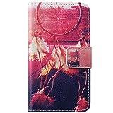 ISAKEN iPhone 4S Hülle, iPhone 4 Hülle, Bunte Retro Muster Druck Flip PU Leder Tasche Case Hülle im Bookstyle mit Standfunktion Kartenfächer Hülle Case für iPhone 4 4S, Retro Wind Chime