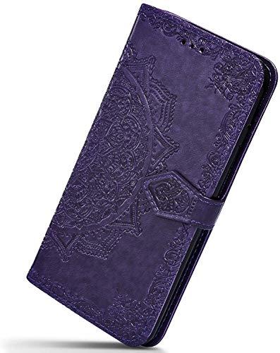Herbests Kompatibel mit Huawei Mate 20 Lite Hülle Klapphülle Leder Tasche 3D Vintage Mandala Blume Muster Flip Schutzhülle Wallet Handyhülle Case Klappbar Magnetisch Etui mit Kartenfach,Lila