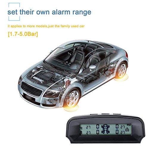 Reifendruckkontrollsystem, OCDAY TPMS intern Solarzelle Monitor Reifendruckkontrolle mit 4 Externe Sensoren(0 ~ 6 bar / 0 ~ 87 psi), automatischer Rechargeble Digital Reifendruck-und Temperatur anzeig