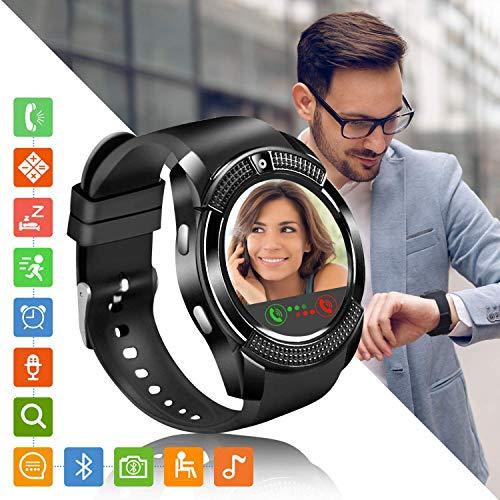 Smartwatch Orologio Fitness Uomo Donna Fitness Tracker Orologio con SIM Slot Fotocamera Contapassi e Calorie da Polso, Smart watch Notifiche per Android iOS Samsung Huawei Xiaomi iPhone (Nero)
