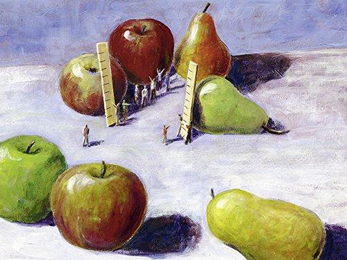 Artland Qualitätsbilder I Bild auf Leinwand Leinwandbilder Wandbilder 60 x 45 cm Ernährung Genuss Lebensmittel Obst Malerei Weiß A8SM Äpfel mit Birnen vergleichen