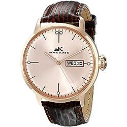 Adee Kaye Vintage Herren Braun Leder Armband Edelstahl Gehäuse Uhr AK2226-MRG-RG