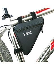 lezed Calidad Nylon triangulares, sillín de bicicleta para bicicletas de montaña, carretera, bicicletas (Negro)